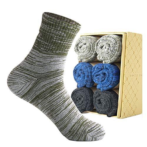 WYYUE Packung mit 6 Paaren Männer Luxus Gestreift Baumwolle Mischung Kleid Passen Socken - Bakteriostatikum & Deodorant (Geschenkbox-Set) -