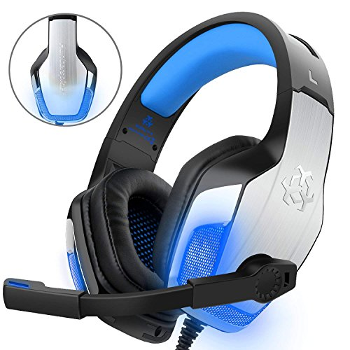 Headset PC,DIZA100 V4 Gaming Kopfhörer für PS4 PC Xbox One mit LED Light,Aluminiumgehäuse,Mikrofon,Bass Surround (Blau)