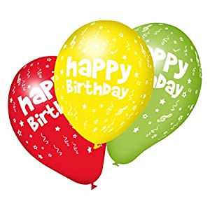 SUSY CARD Globos 40011264 con Texto Happy Birthday, 10 Unidades.