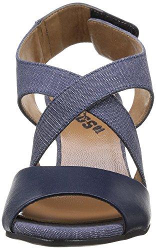 Textile amp; Damen W Salon Raw Lthr Navy star G Gable Sandalette Keil Strap blue 7XvPWqw