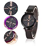 Reloj de las mujeres de la estrella de la moda, Womdee banda de malla magnética estrellado Sky dial simulado diamantes relojes de pulsera de las señoras para las niñas/damas o regalos de Navidad