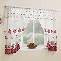 Winchester Kitchen Window Set - Red (47 Wide x 54 Drop) by Tony's Textiles