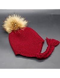HuntGold bébé chapeau tricoté casquettes chaud hiver boules de poils bonnet d'enfant vin rouge