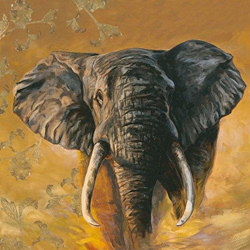 druck aufgezogen auf Holz-Platte Wand-Bild A. S. Afrikanischer Elefant mit Ornamenten I Tiere Wildtiere Elefant Malerei Ocker 69 x 69 x 1,2 cm A1HX (Wand-kunst Mit Holz Rahmen)