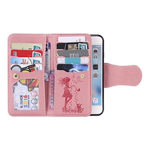 "Coque Etui iPhone 6 Plus (5.5""), Sunroyal® Housse iPhone 6 Plus Portefeuille Wallet Motif Fille Fleur Case Cover PU Cuir Dragonne Strap Portable Swag Rabat Flip Skin Shell de Protection avec 9 Fente F Pattern 13"