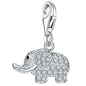 Rafaela Donata Charm Collection Damen-Charm Elefant 925 Sterling Silber Zirkonia weiß  60600275