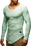 LEIF NELSON Herren Pullover Longsleeve Hoodie Basic Sweatshirt Hoodie Hoody Sweater LN6358; Größe XXL, Mint