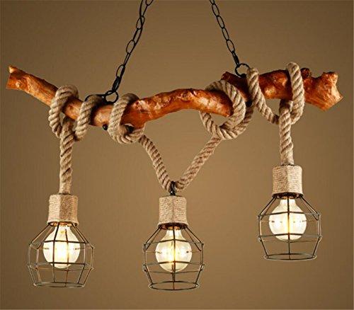 Kronleuchter Holz Seil 3-Flammig Loft Lampe Retro Landhaus Pendelleuchte Esszimmerlampe Anhänger Seillampe Licht Vintage Pendellampe Industrie Rustikal Nostalgisch Für Kaffee Esszimmer Esstisch