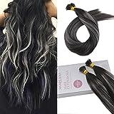 Moresoo 22 Zoll I Tip Extensions Extensions Echthaar Bondings 1 G/S Aus Schwarz #1B Fading zu Grau Silber Hervorgehoben mit Aus Schwarz #1B Brazilian Hair