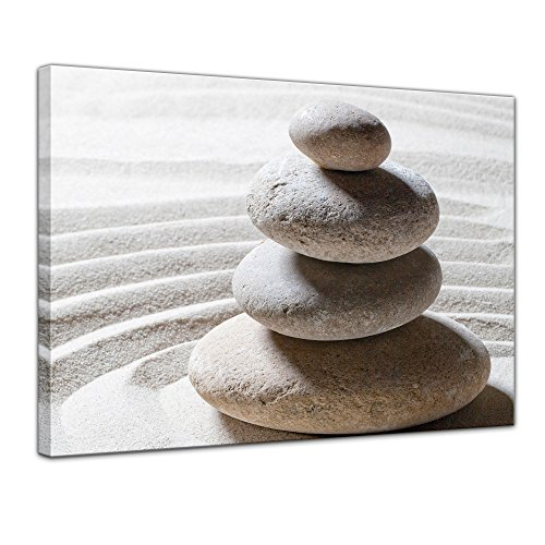 Zen-steine (Kunstdruck - Relaxing - Bild auf Leinwand - 60 x 50 cm - Leinwandbilder - Bilder als Leinwanddruck - Wandbild von Bilderdepot24 - Geist & Seele - Zen Steine auf Sand)