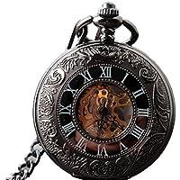 vear Orologio Steampunk scheletro nero meccanico orologio da tasca Pendent portachiavi catena + vear Confezione Regalo