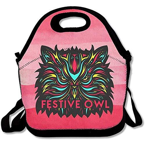 festive gufo stampato grandi e spessi neoprene lunch Bags lunch Tote Bags Cooler calda calda borsa con tracolla per le donne teenager ragazze bambini adulti