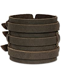 SilberDream Bracelet de Cuir fixation en acier inoxydable Couleur brun Taille de 20 à 23cm Bracelet pour homme LA1772