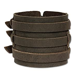 SilberDream Leather Bracelet brown fits 7.8'' to 9'' Men Leather Bracelets genuine Leather LA1772