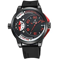 Alienwork DualTime Quartz Watch Multi Time Zones Wristwatch XXL Oversized Polyurethane black black OS.UV1501-4