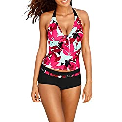 Women Swimwear ,Women Tankini Sets With Boy Shorts Ladies Swimwear Two Piece Swimsuits (S, Red)