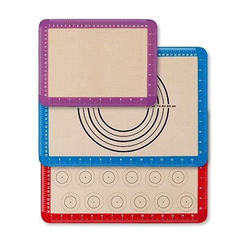 Newdora [3 Stück] Backmatte Set aus Silikon, Macarons Backmatte, Rutschfester wiederverwendbarer Hitzebeständig Antihaftbeschichtet, BPA frei ,42×29.5 cm (Rot/Blau) und 29.5×22 cm (purpurn)