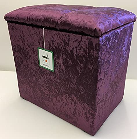 Small Linen Box / Dressing Table Stool with a lift up Diamond Crystal lid in a Quality Purple Shimmer fabric...Ideal for any room in the house