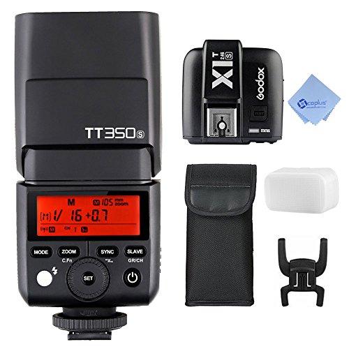 GODOX Thinklite TTL TT350S Speedlite portátil Mini 2.4G Wireless Master con X1T-S 2,4 G transmisor de disparo de Flash inalámbrico TTL para Sony réflex sin espejo cámara A77II A6000 A6500 RX10 Series + Mcoplus paño de limpieza