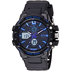 SKMEI Analog-Digital Black Dial Men's Watch-AD0990 (BK BLUE)