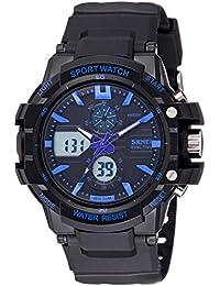 SKMEI Analog-Digital Black Dial Men's Watch-AD0990 (BK BLUE)