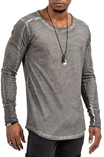 trueprodigy Casual Herren Marken Long Sleeve einfarbig Basic, Oberteil cool und stylisch mit Rundhals (Langarm & Slim Fit), Langarmshirt für Männer in Farbe: Grau 1073143-0403 Anthracite