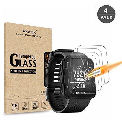 AKWOX (Lot de 4) Protection d'écran en Verre trempé pour Garmin Forerunner 35Montre GPS de Course, [0.3mm 2.5d 9H] Premium Effacer Film de Protection d'écran pour Garmin Forerunner 35