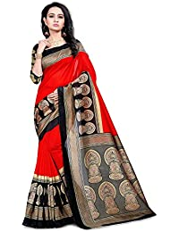 Glory Sarees Women's Cotton Silk Saree(zarna14red_black)