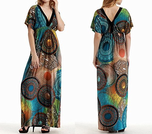 Minetom Sommerkleid Damen Kleid Böhmen Lang V Ausschnitt High Waist Kurzarm Rückenfrei Partykleid Elegant Urlaub Cocktail Vintage Maxi Dress Blau
