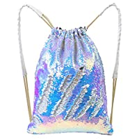 Beinou Mermaid Sequin Bag Magic Reversible Sequin Drawstring Backpacks Glittering Shoulder Bag Sports Outdoor Backpack Bags Shinning Dancing Bag(35x45cm) (Blue-Purple/Silver)