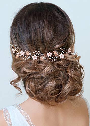 Kercisbeauty Blush Perlen-Stirnband Hochzeit Brautschmuck Braut Haarschmuck Weinrebe Ball Haar Zubehör Handarbeit Blatt Kopfbedeckung für Braut Perlenschmuck