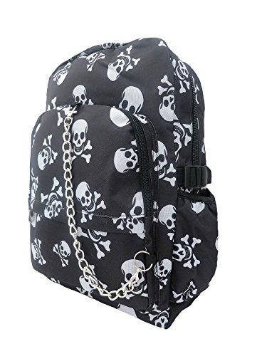 BLACK WHITE SKULL Cross Bones Pirate Backpack Rucksack | School College Goth Rock Emo Skate Bag