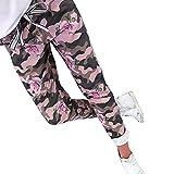 Coolster Damen-beiläufige Hohe Taillen-Hosen-Elastische Taillen-beiläufige Hosen Mode Pailletten Tarnung Patchwork Hose