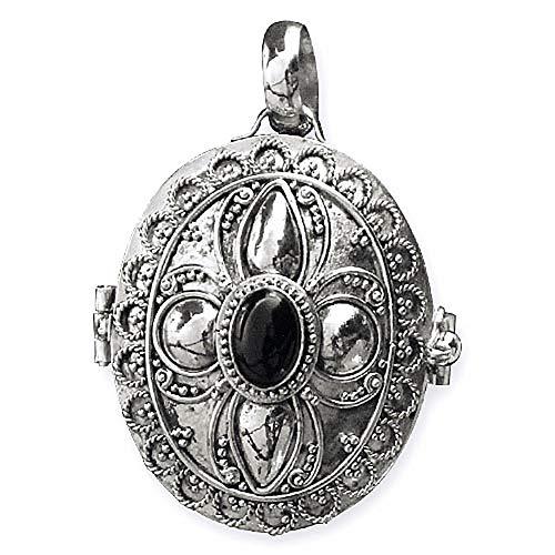 Anhänger Medaillon zum Öffnen 925 Silber mit Onyx