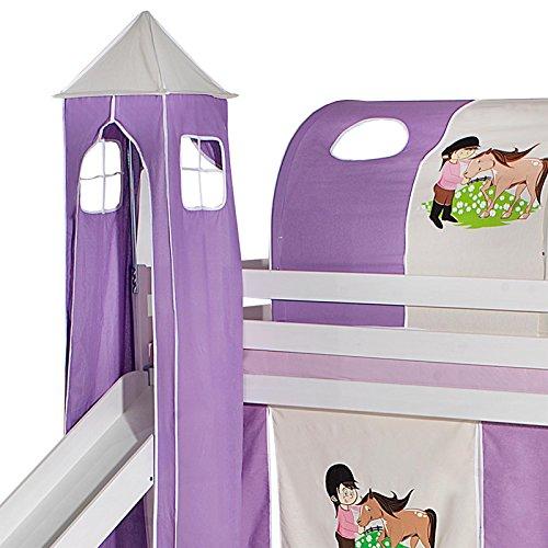 Bett mit Rutsche, Spielbett, Rutschbett, Kinderbett, Hochbett in lila/beige Pferdemotiv (Jungen Hochbett Mit Rutsche)