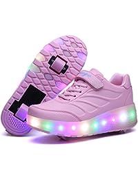 Skybird-UK LED Leuchtend Schuhe mit Rollen Ultraleicht Outdoor Sportschuhe Blinkschuhe 7 Farbe Farbwechsel Rädern Gymnastik Sneaker für Junge Mädchen