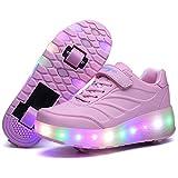 Aizeroth-UK LED Lumières Clignotant Couleur Changeant Chaussures à roulettes Multisports Outdoor 7 Couleurs LED Colorés Gymnastique Sneakers avec Rouleau de Garçon et Fille (34 EU, (2Roues))