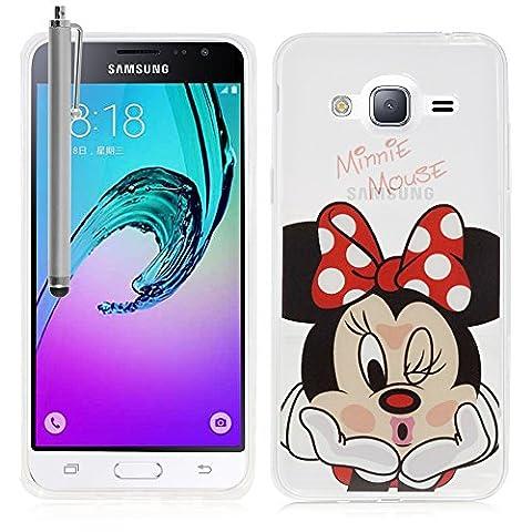 VComp-Shop® Transparente Silikon TPU Handy Schutzhülle mit Motiv Cartoon Disney für Samsung Galaxy J3 (2016) + Großer Eingabestift - Minnie Mouse