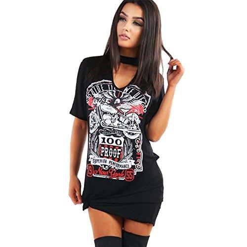 new-womens-ladies-choker-v-neck-slogan-print-top-longline-t-shirt-pj-vintage-dress-size-s-xxl-s-m-uk
