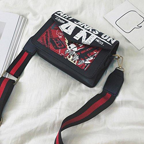 Borsa grande tote in pelle Signore, donne lettera borsetta borsa spalla Messenger grande Tote Leather signore borsa by Kangrunmy Nero