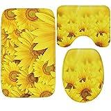 Knbob Wc Teppich Set 3Teilig Gelbe Sonnenblume Stil 2-Klein Badezimmerteppich Set 17 Teilig Für Hänge Wc 60X40Cm