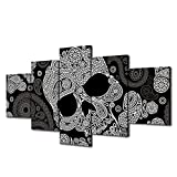 VIIVEI Halloween Day of the Dead Skull Canvas Wall Art Abstract Black and White Prints Home Decor Decals Artwork Contemporary Pictures 5 Panel Poster Paintings Framed Ready to Hang