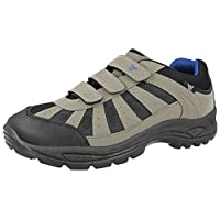 Wyre Valley Mens Coniston Hiking Trail Walking Trekking Style Outdoors Triple Touch Close Straps Trainers Size 7-12 (UK 10/ EU 44, Grey/Black/Blue)