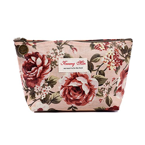 JAGENIE Vintage Blumen Floral Federmäppchen Kosmetiktasche Aufbewahrungstasche Geldbörse Rosa L