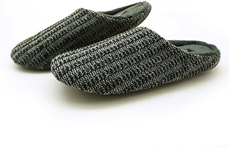 LaxBa Moda Mujer Otoño e Invierno Home interiores y exteriores zapatillas de algodón gris y negro,42-43 (41-42...