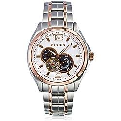 binlun Herren Extra Große Kristall Saphir Japanische Mechaniker 2Tone Rose Gold Edelstahl Armbanduhr