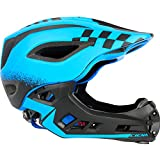 Fahrradhelm Kinder Offroad MX Motocross Helm Roller Motorrad Motorrad Helm Kinder Helme für Fahrrad Skating Roller mit Rücklicht Einstellbare Schutzausrüstung ( Color : Blue , Size : M(54-58cm) )