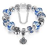 ATE® Bracelet Charms Verre à Motif Floral pour Femme Cadeau# JW-B170 (Bleu 20CM)