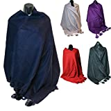 Mongolian Wool Scarf Poncho Shawl Wrap Extra Long Extra Large With Pom Pom or Fluffy Edge or Plain Scarf