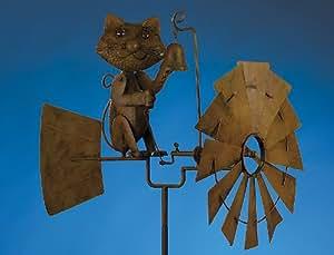 Windrad Mit Katze und Glocke Metall